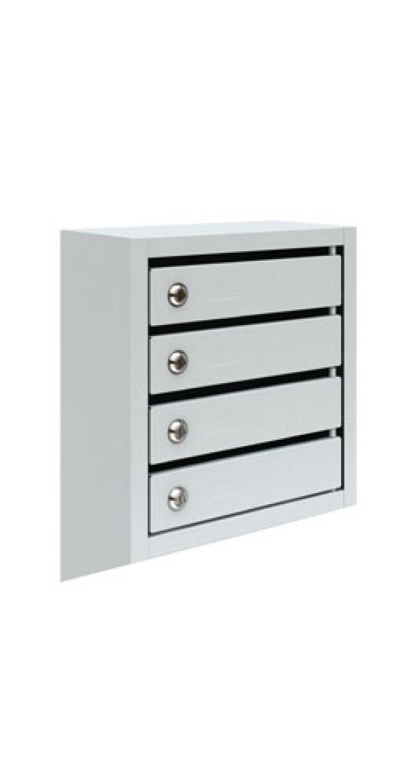 Металлический четырехсекционный почтовый ящик ПМ-4