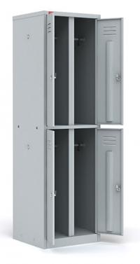 Двухсекционный металлический шкаф для одежды ШРМ - 24