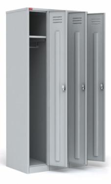 Трехсекционный металлический шкаф для одежды ШРМ - 33